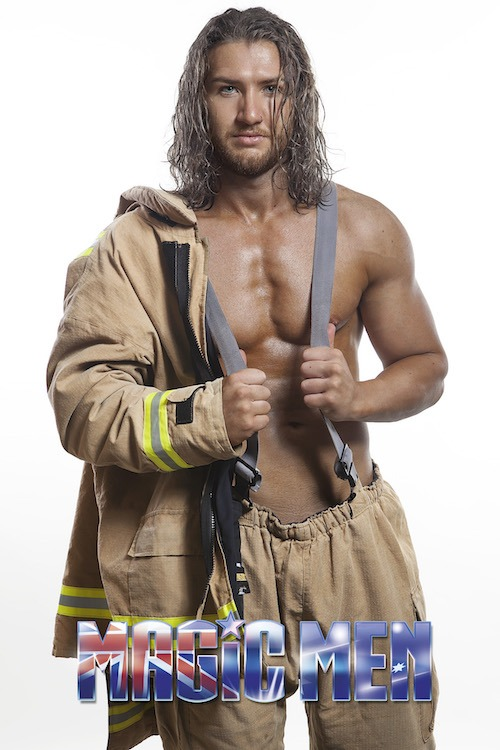 Ash the alluring male stripper fireman costume in Brunswick