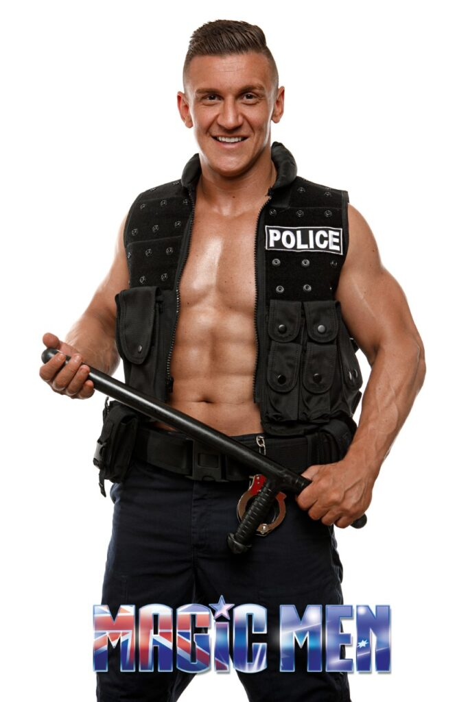 Mitch policeman male strippers in Werribee n wearing black body protection
