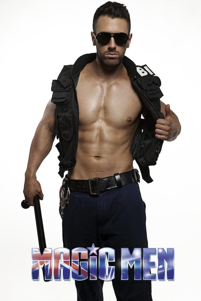 Nick good-looking cop male stripper in Brunswick wearing black coat