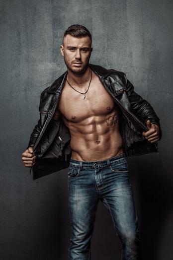 Francesco rider Male strippers in Brunswick in black jacket